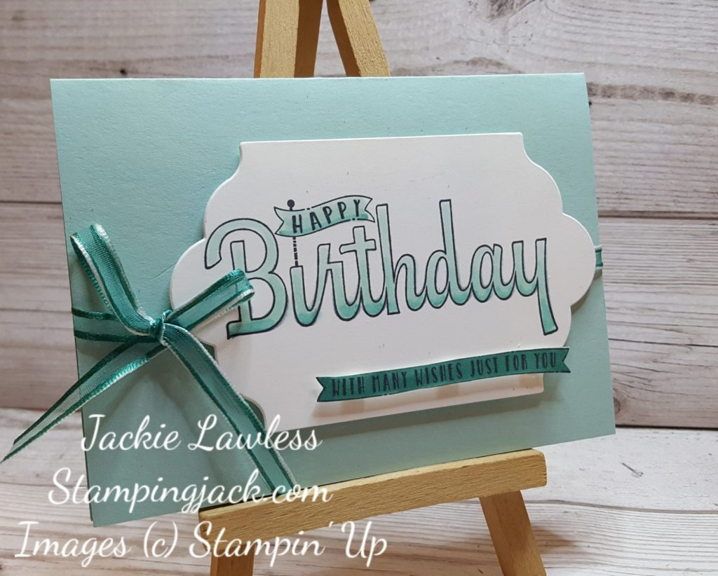 Birthday Wishes coloured with Stampin Blends